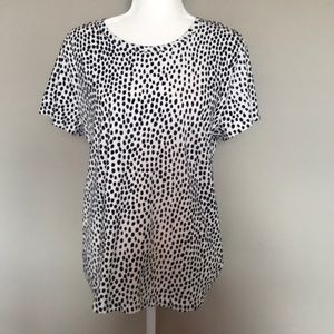 J. Crew Collector White Tee with Blue Spots